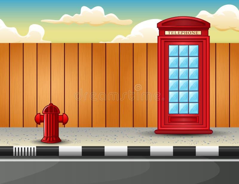 Cabina de teléfonos roja en el borde de la carretera ilustración del vector