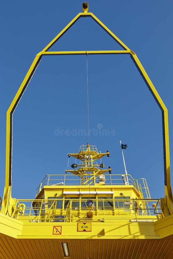 Cabina del capitán de la lanzadera del transbordador para los vehículos Transporte entre el isla fotografía de archivo