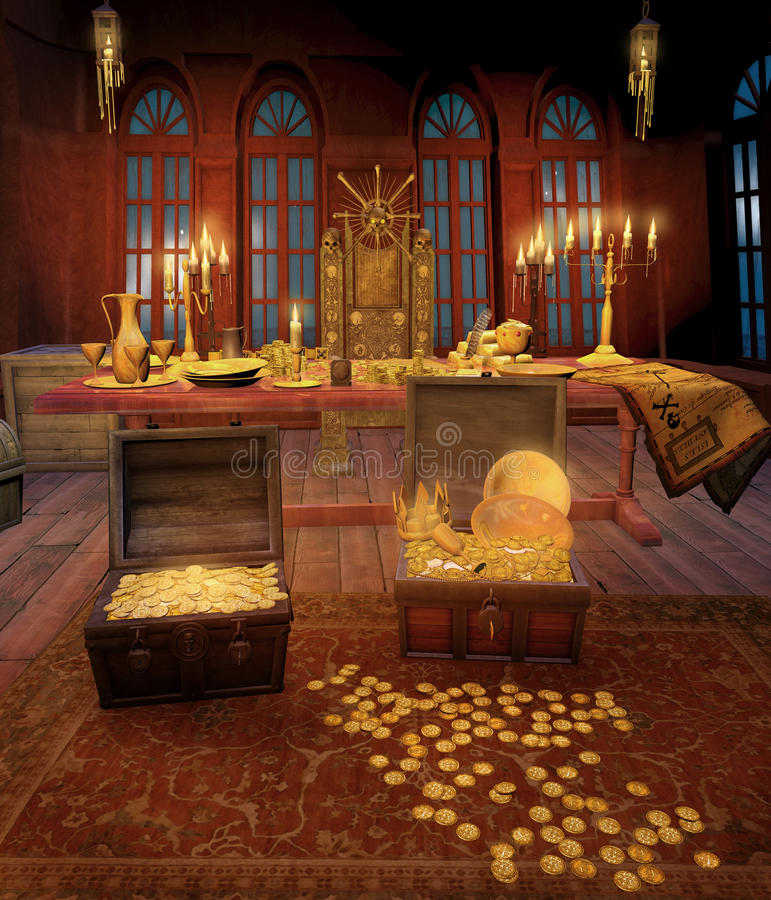 Cabina del pirata con los tesoros stock de ilustración