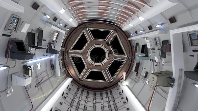 Cabina del transbordador espacial Vuelo del transbordador espacial en espacio representaci?n 3d stock de ilustración