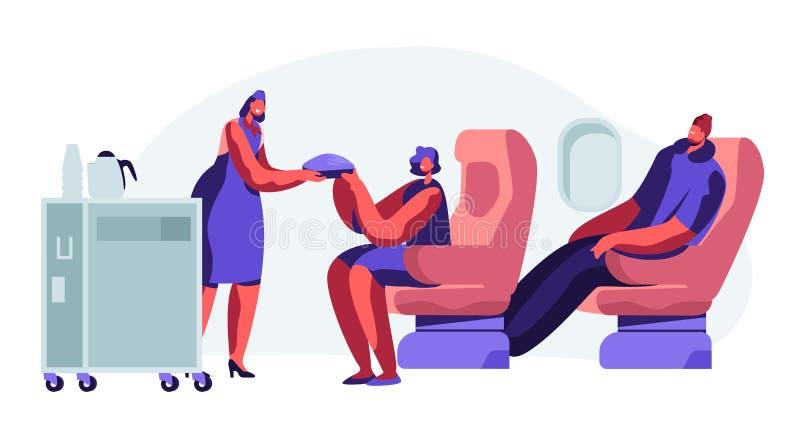 Cabina dell'aereo con l'hostess ed i passeggeri, ora del pasto nella classe economica Donna, uomo sui sedili Assistente di volo c illustrazione di stock