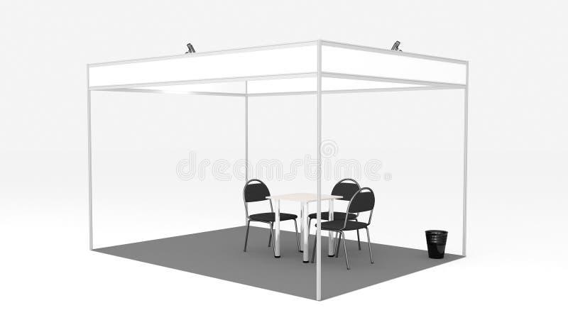 cabina dell'interno 3D di commercio di mostra dello spazio in bianco 3x4 rendere su fondo bianco, modello per la presentazione fa royalty illustrazione gratis