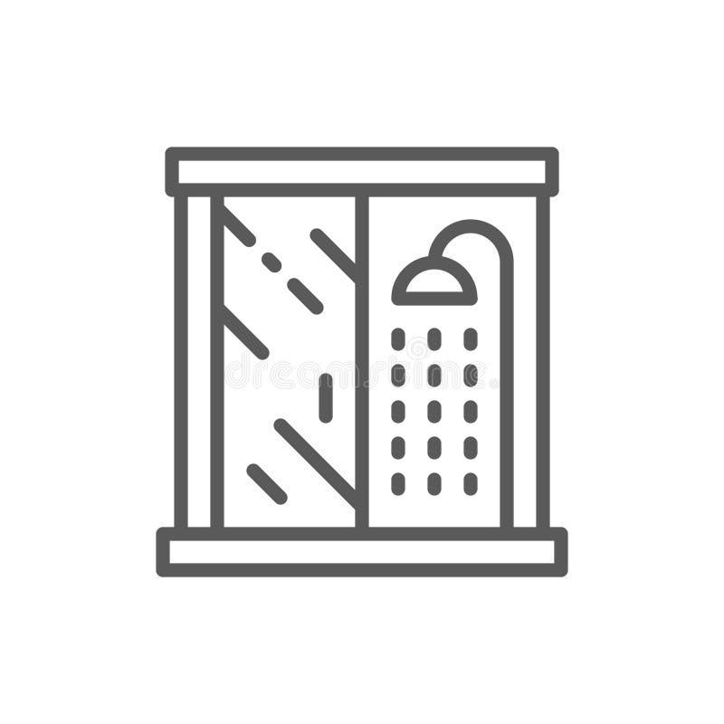 Cabina della doccia, linea icona della mobilia del bagno illustrazione di stock