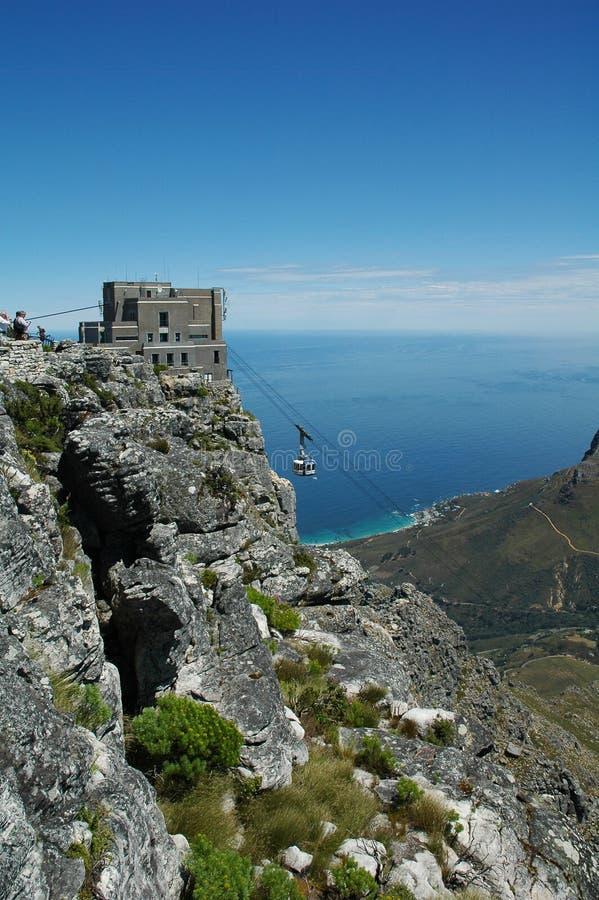 Cabina di funivia alla montagna della Tabella fotografie stock