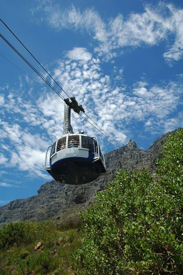 Cabina di funivia alla montagna della Tabella immagini stock libere da diritti