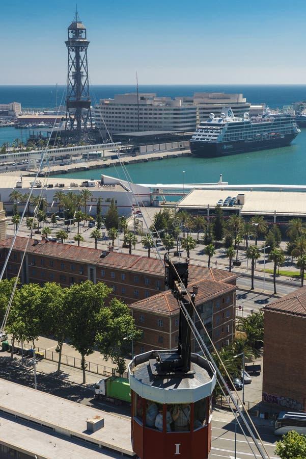 Cabina di funivia a Barcellona immagini stock libere da diritti