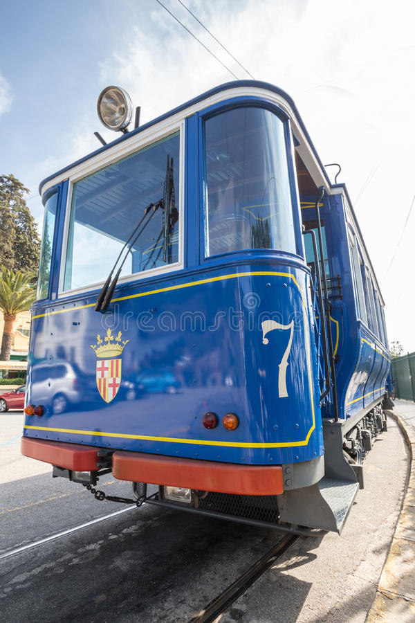 cabina di funivia Barcellona spagna di blau di tramvia fotografia stock