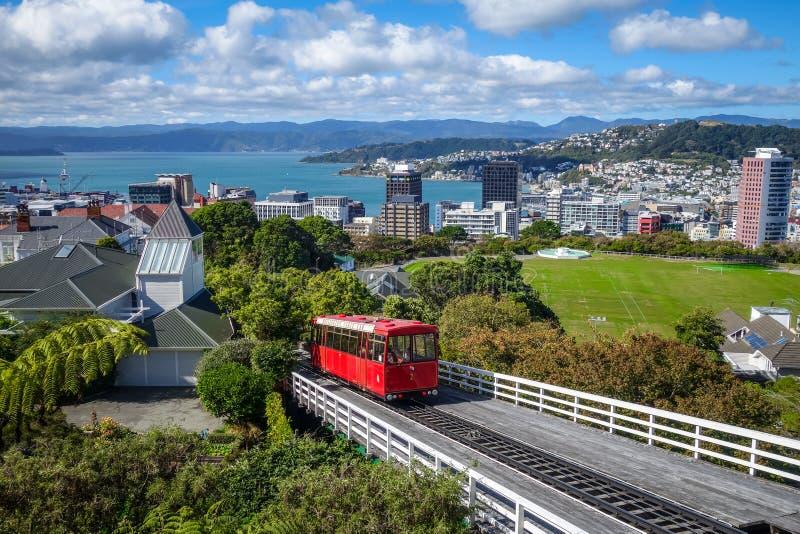 Cabina di funivia della città di Wellington, Nuova Zelanda fotografie stock