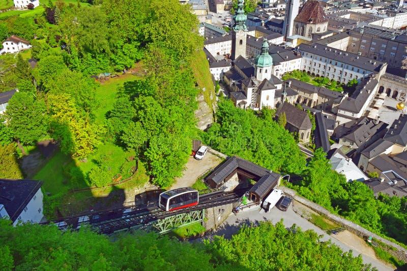 Cabina di funivia funicolare Festungsbahn ferroviario, Salisburgo, Austria immagine stock