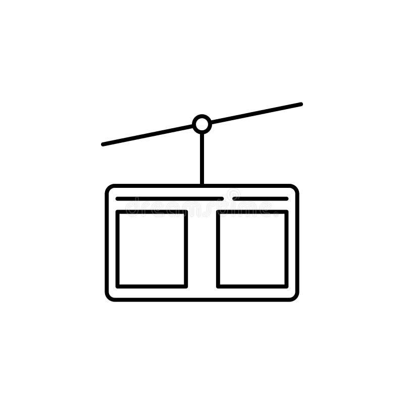 Cabina di funivia, icona del profilo di inverno Elemento dell'illustrazione degli sport invernali I segni e l'icona di simboli po illustrazione di stock
