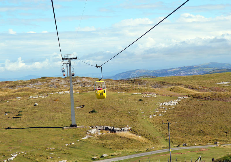 Cabina di funivia a Llandudno Galles del nord fotografie stock libere da diritti