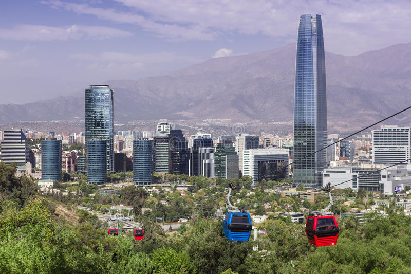 Cabina di funivia in Santiago de Chile immagini stock