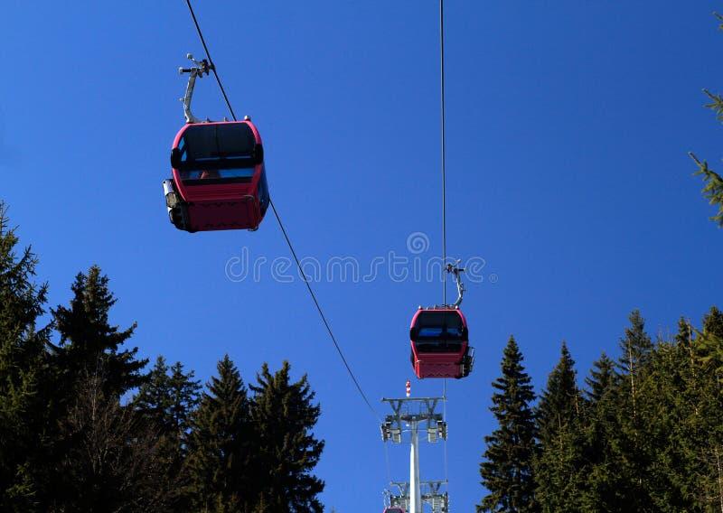 Cabina di funivia sopra gli alberi fotografia stock