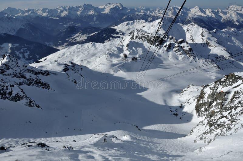 Cabina di funivia svizzera della fortificazione di Mont delle alpi fotografia stock libera da diritti