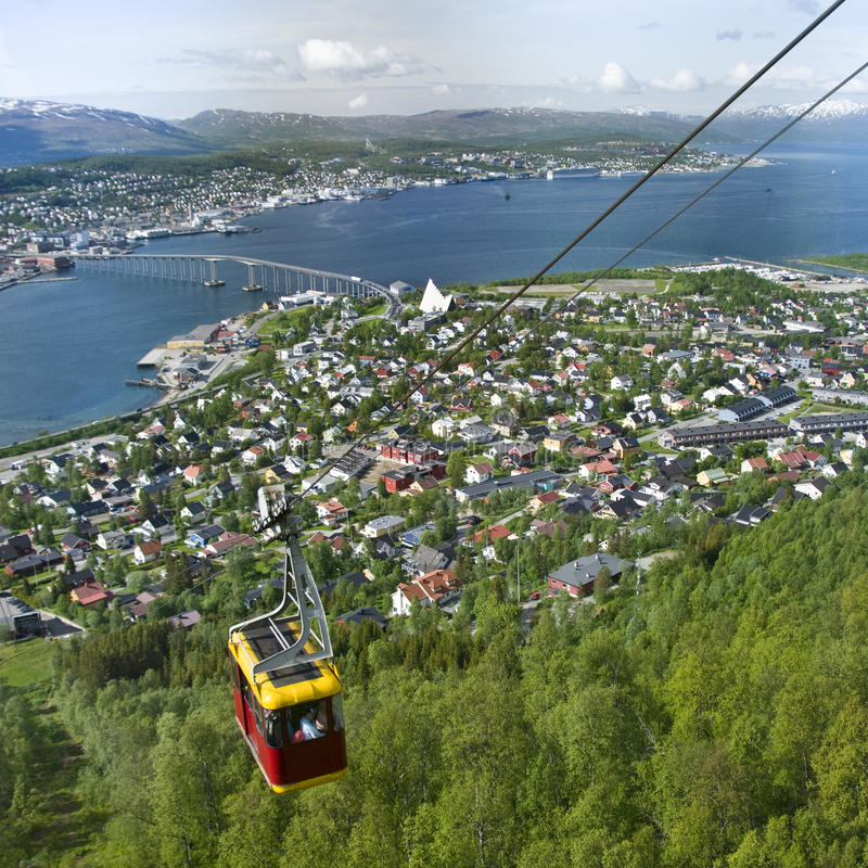 Cabina di funivia a Tromso, Norvegia immagini stock