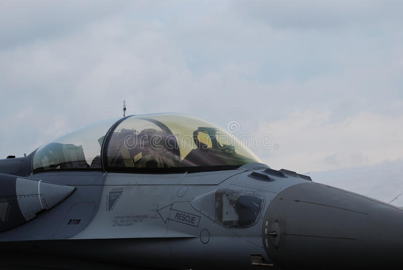 Cabina di guida dell'aereo da caccia fotografie stock libere da diritti