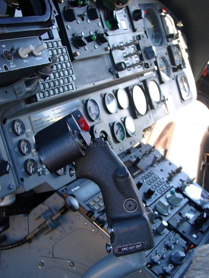 Cabina di guida dell'elicottero fotografie stock libere da diritti