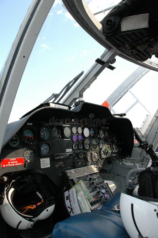 Cabina di guida dell'elicottero fotografie stock