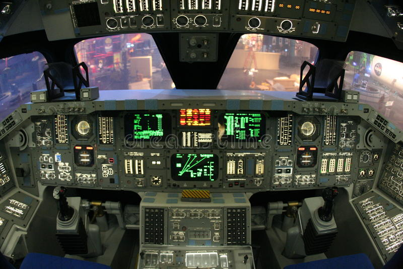 Cabina di guida della spola di spazio della NASA fotografie stock