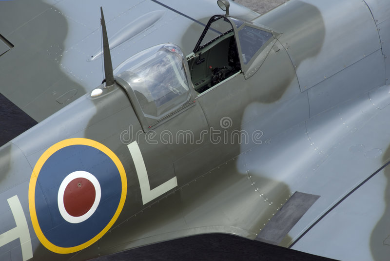 Cabina di guida dello Spitfire immagini stock libere da diritti