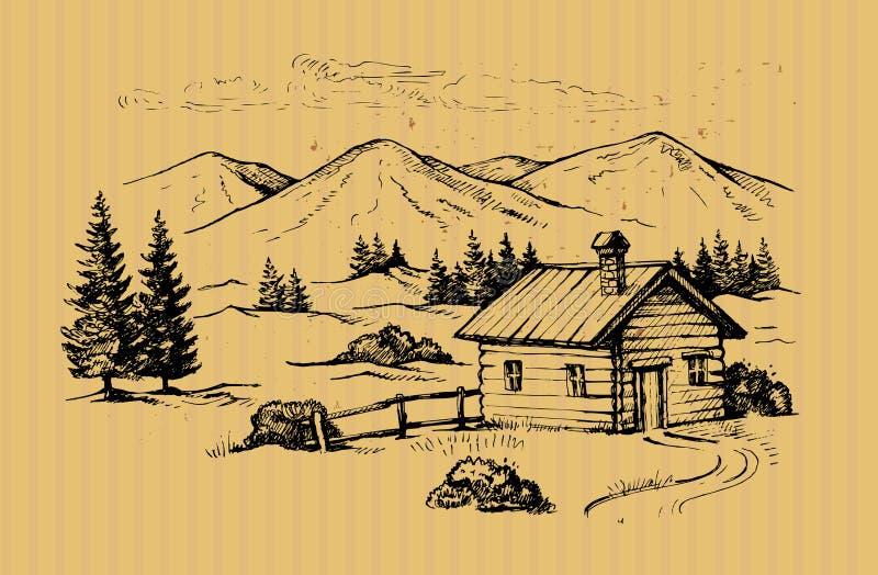 Cabina di legno in montagne illustrazione di stock