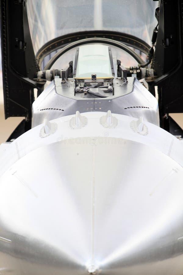 Cabina di pilotaggio dell'aereo da caccia fotografia stock libera da diritti