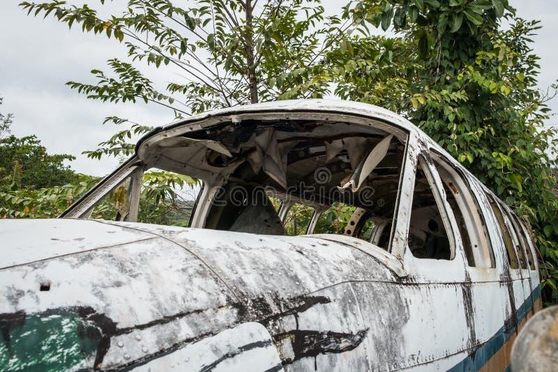 Cabina di pilotaggio distrutta dell'aeroplano in giungla - vecchio aereo i dell'elica fotografie stock libere da diritti