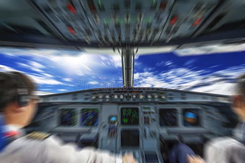 Cabina di pilotaggio piana fotografia stock libera da diritti