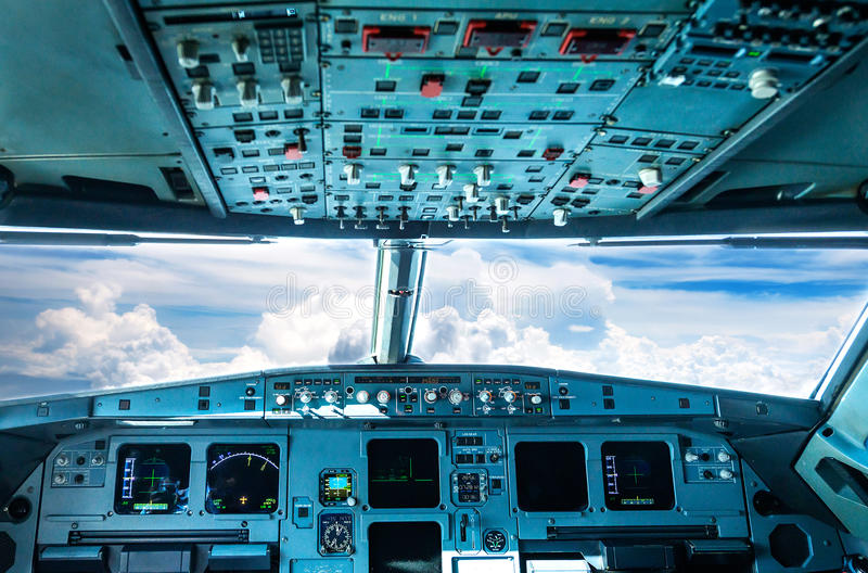 Cabina di pilotaggio piana fotografia stock