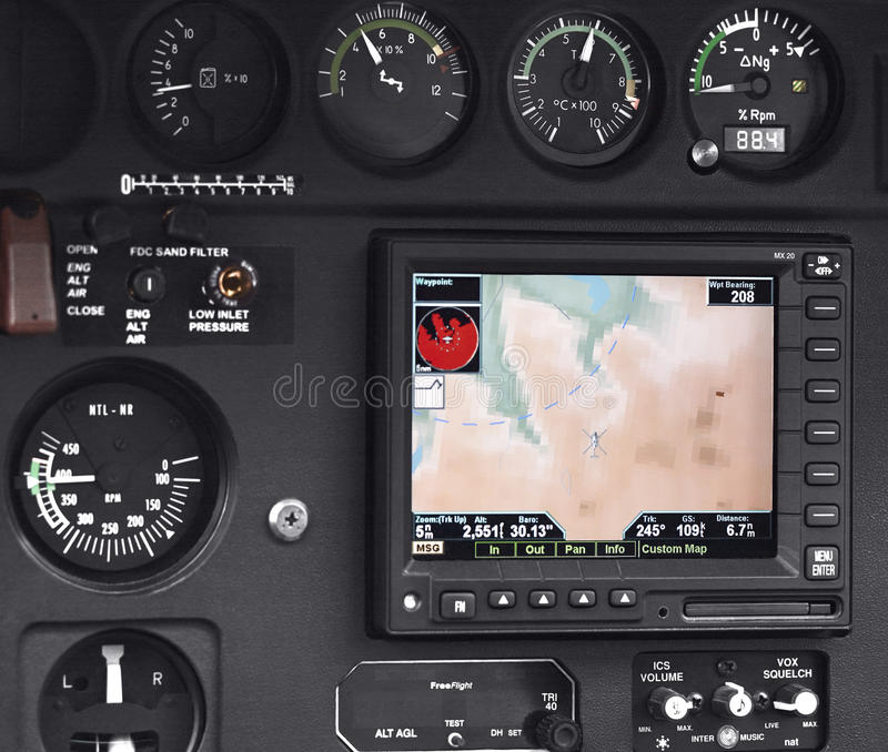 Cabina di pilotaggio pilota interna immagine stock