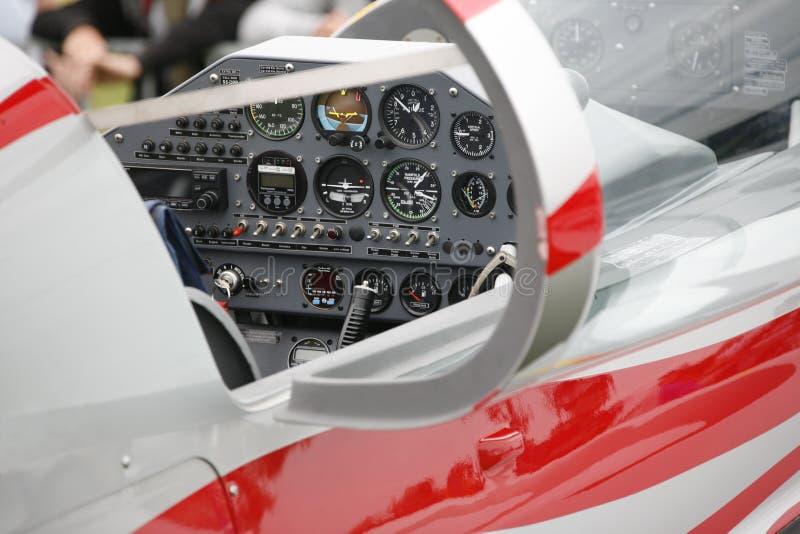 Cabina do piloto de aviões foto de stock