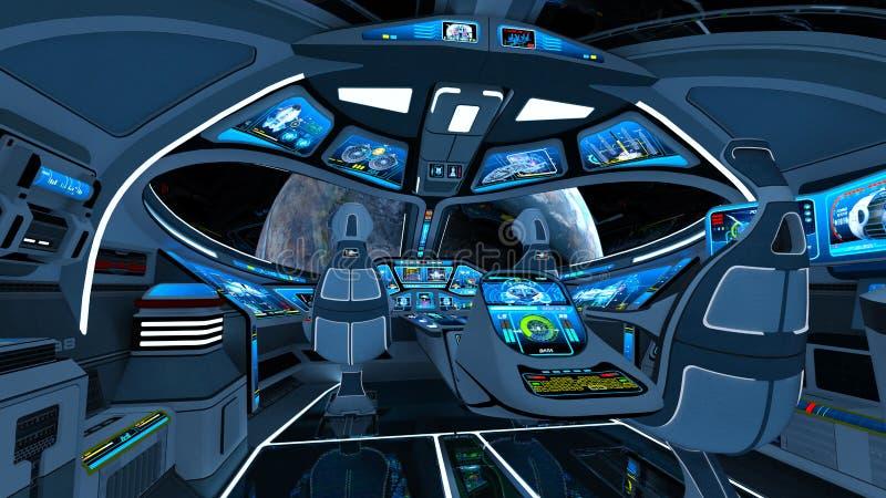 Cabina do piloto do navio de espaço ilustração stock