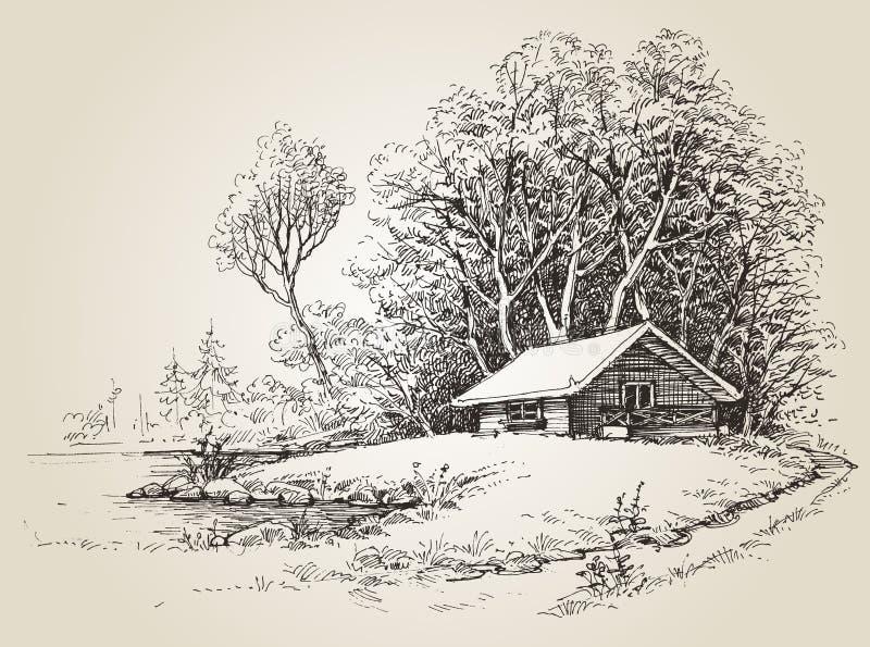 Cabina en el bosque ilustración del vector