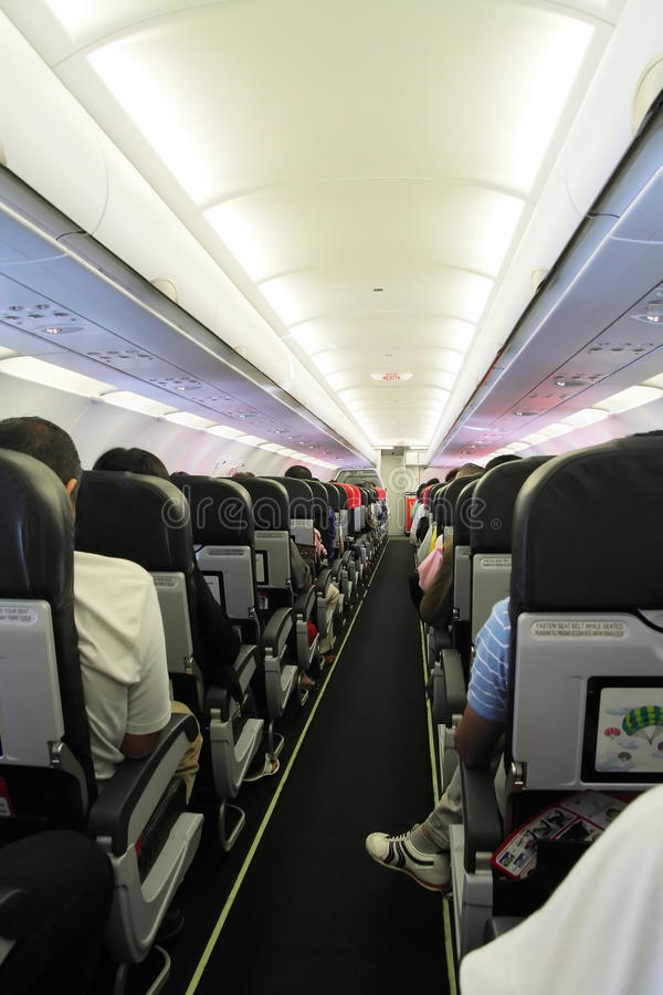 Cabina interior del aeroplano fotografía de archivo