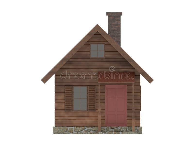 Cabina minúscula de madera de la casa stock de ilustración