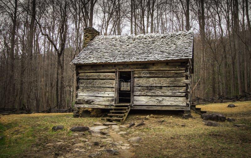 Cabina pionera en el parque nacional de las montañas ahumadas foto de archivo