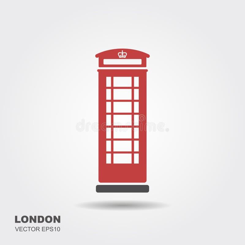 Cabina telefonica di Londra isolata su fondo bianco illustrazione di stock