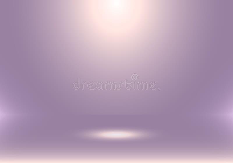 cabina vacía de la demostración del sitio del estudio 3D para los diseñadores con el proyector en fondo púrpura de la pendiente E libre illustration