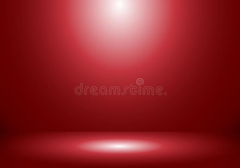 cabina vacía de la demostración del sitio del estudio 3D para los diseñadores con el proyector en fondo rojo de la pendiente libre illustration