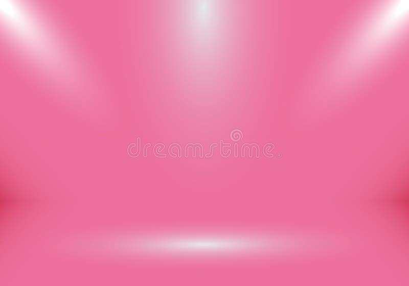 cabina vacía de la demostración del sitio del estudio 3D para los diseñadores con el proyector en el fondo rosado de la pendiente stock de ilustración