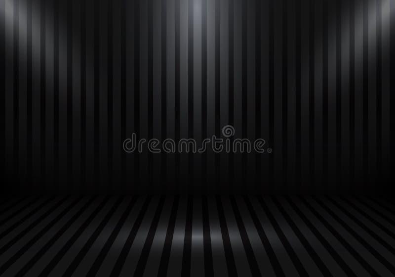 cabina vac?a de la demostraci?n del sitio del estudio 3D para los dise?adores con las rayas y proyector en fondo negro de la pend libre illustration