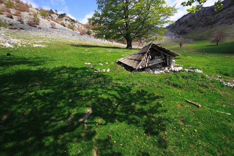Cabina vieja de la montaña fotografía de archivo libre de regalías