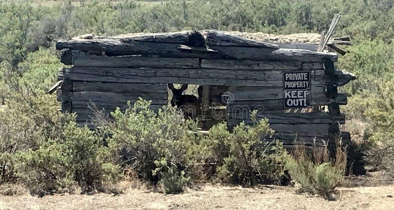 Cabina vieja en naturaleza imagenes de archivo