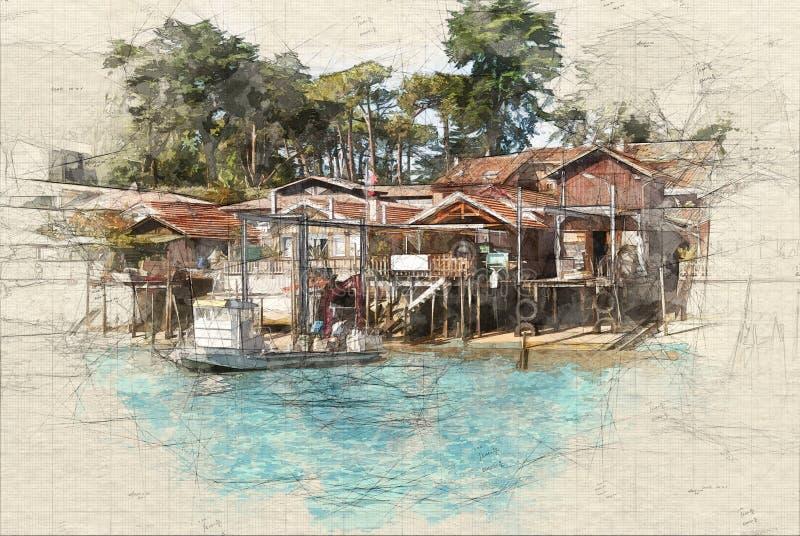 Cabinas de los pescadores ilustración del vector