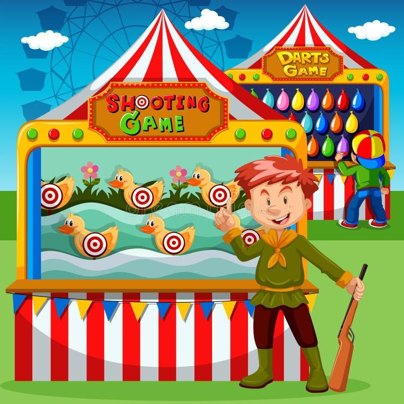 Cabinas del juego en el carnaval ilustración del vector