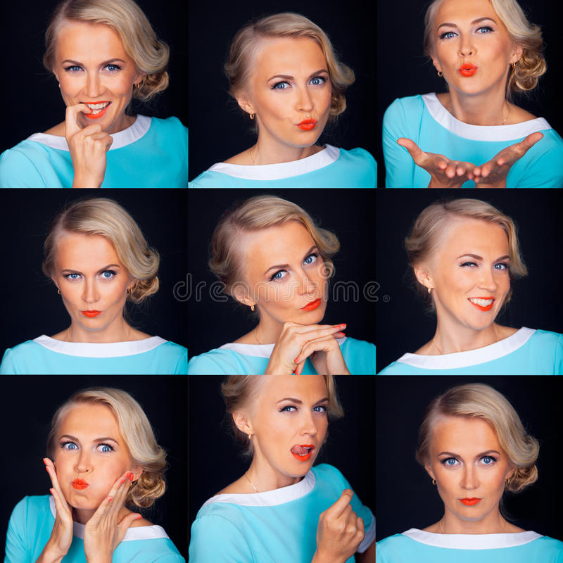 Cabine da foto Expressões faciais múltiplas de imagem de stock royalty free