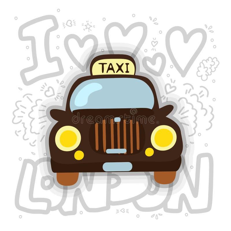 Cabine de Londres - illustration de vecteur de taxi Conception de bande dessinée de taxi de Londres avec des éléments de décorati illustration stock