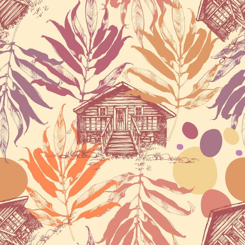 Cabine de madeira no fundo do outono ilustração do vetor