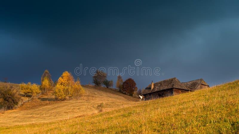 Cabine de montagne en montagnes carpathiennes, automne en Roumanie images libres de droits