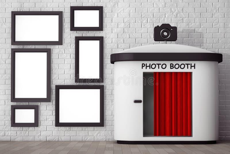 Cabine de photo devant le mur de briques avec les cadres de tableau vides 3d illustration de vecteur